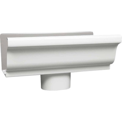 Amerimax 5 In. K Style Galvanized White Gutter Drop Outlet
