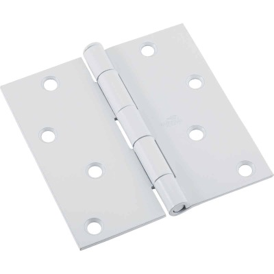 National 4 In. Square White Door Hinge