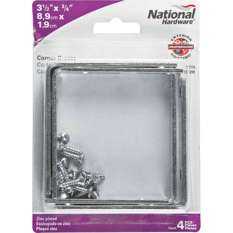 National Catalog V115 3-1/2 In. x 3/4 In. Zinc Steel Corner Brace (4-Count) Image 2