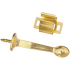 National 3 In. Brass Rigid Door Stop with Holder Image 1