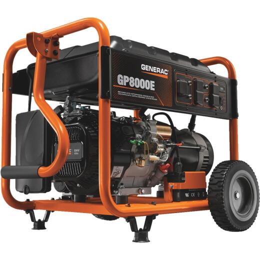 Generac 8000W Gasoline Powered  Electric Manual Start Portable Generator