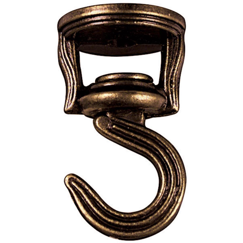 National 2 In. Antique Brass Die Cast Swivel Swag Hook (2-Pack) Image 3